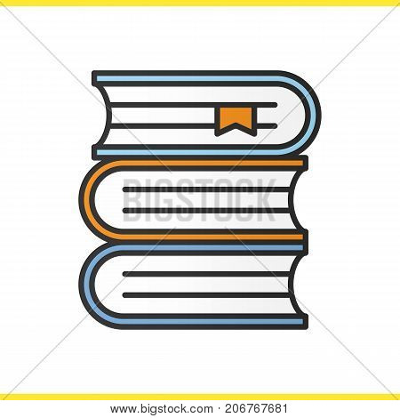 Books stack color icon. School textbooks with bookmarks. Isolated vector illustration