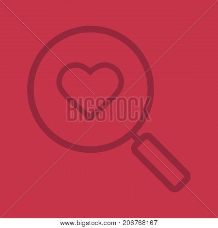Love search linear icon. Magnifying glass with heart shape. Thick line outline symbols on color background. Vector illustration