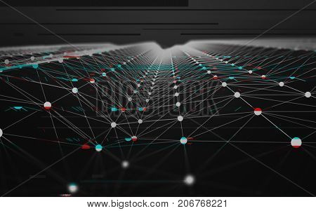 Abstract Glitch Polygonal Data Background with Low Poly Connecting Dots and Lines - Connection Structure - Futuristic HUD Illustration Background