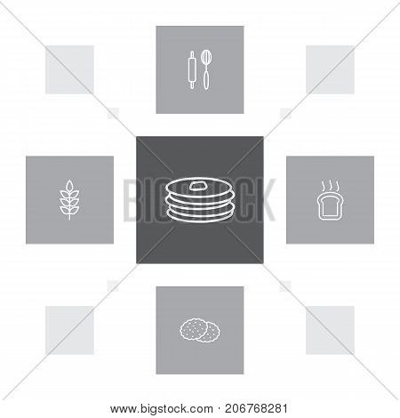Collection Of Rolling Pin, Cookie, Wheat And Other Elements.  Set Of 5 Food Outline Icons Set.