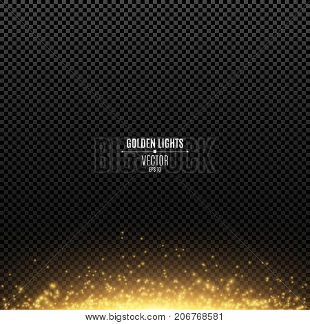 Abstract golden lights on a transparent background. Magical gold dust and glare. Festive Christmas background. Golden backlight. Vector illustration