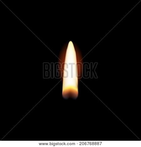 Vector illustration. Realistic candle flame isolated on black background. Candle light on black background.