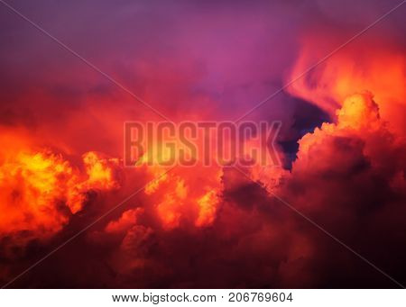 The Natural Red Dramatic Clouds Area Background