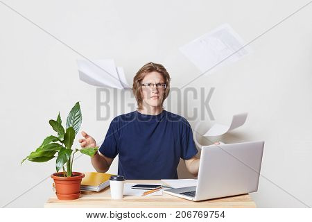 Nervous Businessman Being Tired Of Paper Work Throws Documents In Air, Wants To Have Rest, Has Furio