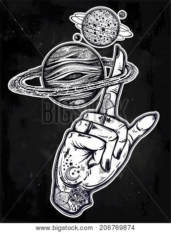 Flash tattoo style astronomy. Inked human hand, finger spinning Saturn space planet. Dotwork ink tattoo vintage design. Vector illustration isolated. Astrology, alchemy, magic, nature symbol art.