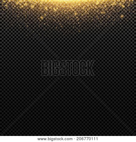 Abstract golden lights fly on a transparent background. Magical gold dust and glare. Festive background. Golden backlight. Vector illustration