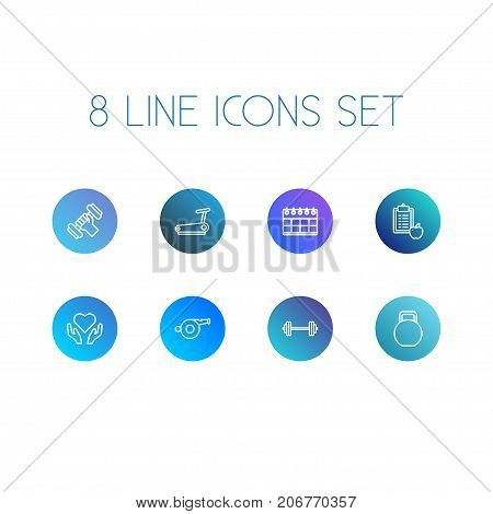 Collection Of Kettlebells, Running Track, Diet And Other Elements.  Set Of 8 Fitness Outline Icons Set.