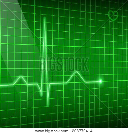 Vector electrocardiogram background. Green line heart rate on the screen in perspective.