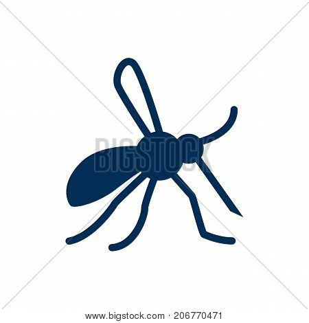 Vector Gnat Element In Trendy Style.  Isolated Mosquito Icon Symbol On Clean Background.