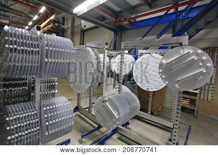 assembly production LED lamps in the factory
