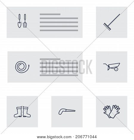 Collection Of Firehose, Safer Of Hand , Arm-Cutter Elements.  Set Of 7 Household Outline Icons Set.