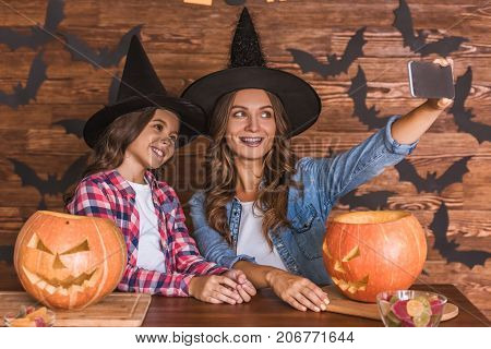 Mom And Daughter Ready For Halloween
