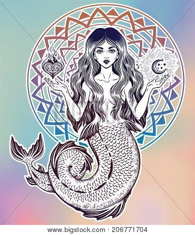 Hand drawn beautiful magic mermaid girl with long hair, heart and moon. Ocean siren in retro style. Sea, fantasy, spirituality, mythology, tattoo art, coloring books. Isolated vector illustration.