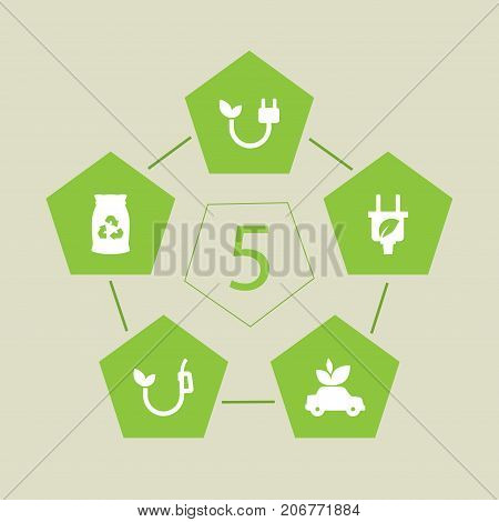 Collection Of Ecological, Eco, Energy And Other Elements.  Set Of 5 Ecology Icons Set.