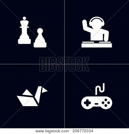 Collection Of Checkmate, Joystick, Paper Figure And Other Elements.  Set Of 4 Hobbie Icons Set.