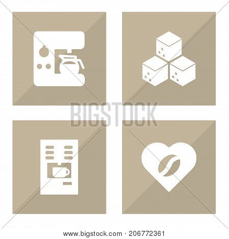 Collection Of Heart, Espresso Dispenser, Sweetener And Other Elements.  Set Of 4 Drink Icons Set.
