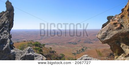 View Of The Valley Between Two Moutain Peaks, Isalo Park, Madagascar, Panoramique