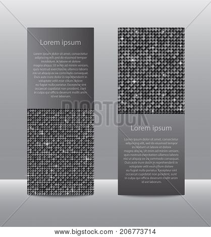 Vertical Set of Silver Sequins Banners Template for Business Design, Infographics. Silver Mosaic, Sequins, Glitter, Sparkle, Stars. Vector Illustration. Card Brochure Business Card Probe.