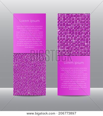 Vertical Set of Pink Sequins Banners Template for Business Design, Infographics. Pink Mosaic, Sequins, Glitter, Sparkle, Stars. Vector Illustration. Card Brochure Business Card Probe.