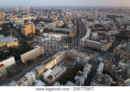 Aerial view of the central street of Kiev - Khreshchatyk, the European Square, Independence Square, Stalin and modern architecture. Ukraine