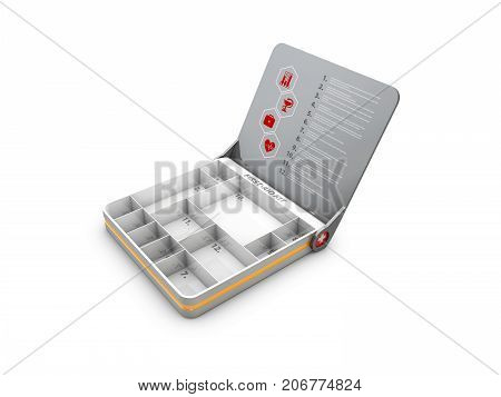 3d Illustration of Open First aid kit box with instruction.