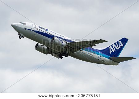 OSAKA, JAPAN - AUG. 13, 2017: Boeing 737-500 taking off from the Itami International Airport in Osaka, Japan.