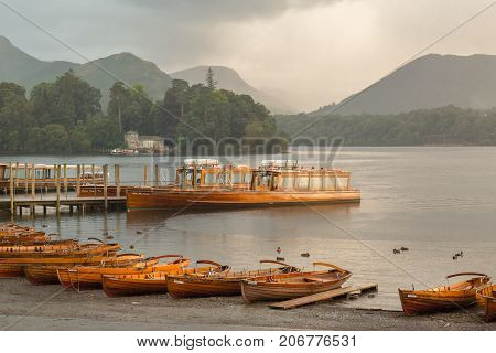 A landscape view of Derwent Water one of the lakes in the Lake District Cumbria United Kingdom.
