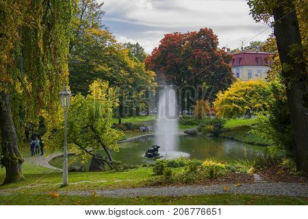Central spa park with small lake - center of the small west Bohemian spa town Marianske Lazne (Marienbad) - Czech Republic
