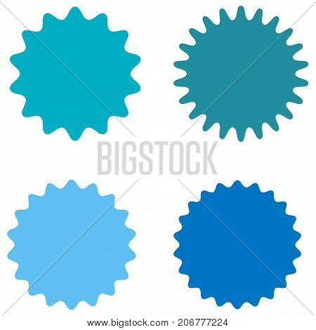Set of starburst, sunburst badges, labels, stickers. Blue color. Simple flat style. Vintage, retro. Design elements. A collection of different types icon. Vector illustration