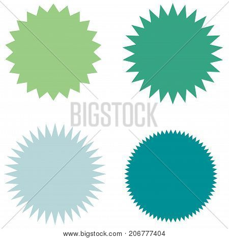 Set of starburst, sunburst badges, labels, stickers. Green and blue color. Simple flat style. Vintage, retro. Design elements. A collection of different types icon. Vector illustration