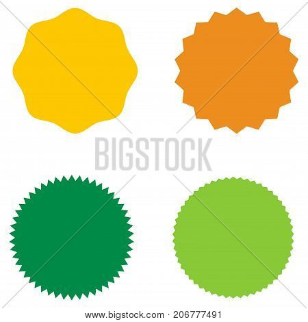 Set of starburst, sunburst badges, labels, stickers. Green, yellow and orange color. Simple flat style. Vintage, retro. Design elements. A collection of different types icon. Vector illustration