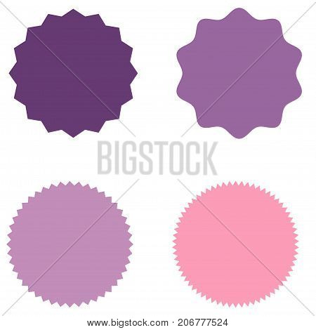 Set of starburst, sunburst badges, labels, stickers. Purple, pink, lilac color. Simple flat style. Vintage, retro. Design elements. A collection of different types icon. Vector illustration
