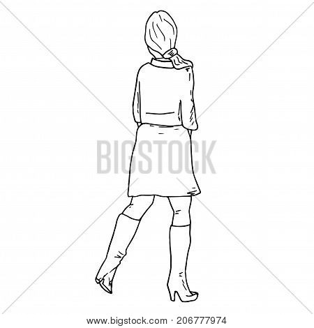 Woman in a short dress and thigh high heel boots back view. Hand drawn artistic sketch. Line illustration. Exhibition visitor.