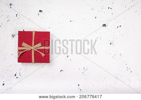 Vintage red gift box on white background. Top view