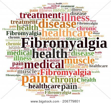 A Illustration with word cloud on fibromyalgia.
