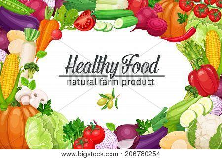 Poster template page design with vegetables. Collection farm product for restaurant menu design, market label. Vector illustration.