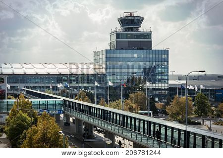 Prague Czech Republic - September 27 2017. Control Tower building of Vaclav Havel Airport Prague areial view from parking hale. Prague Airport is the main air gate to the Czech Republic.