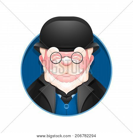 Avatar icon. Portrait of adult business man in bowler hat. Cartoon englishman. Vector illustration.