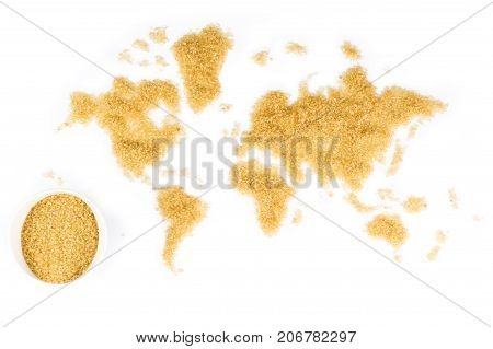 Map Of The World Made Of Cane Sugar On White Background