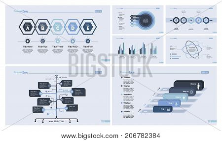 Business infographic design set for annual report, presentation, workflow layout. Management concept. Option chart, organizational chart, donut chart, bar graphs, flowchart, atom graph. process graph