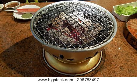 Korean Stove Set Ready For Big Meal Party