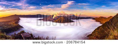 Mount Bromo volcano (Gunung Bromo) during sunrise from viewpoint on Mount Penanjakan in Bromo Tengger Semeru National Park East Java Indonesia.