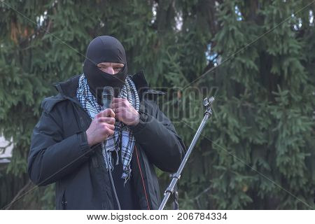 Zhytomyr Ukraine - February 12 2016 Extremist talking on microphone
