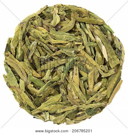 Long Jin Green Tea in round shape isolated
