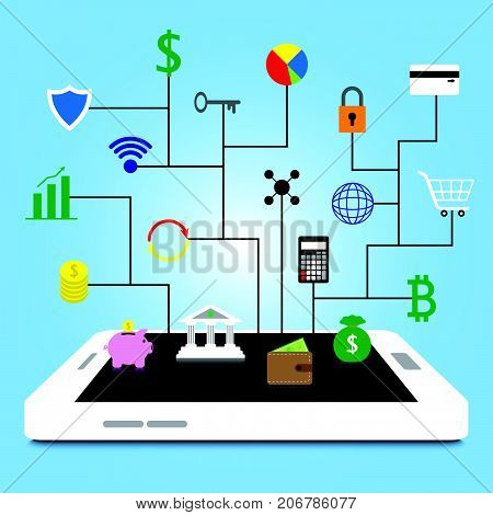 19 Fintech Colorful Icons Are Connected To White Smartphone By Black Lines On Blue Background Involving In Financial Technology Banking Saving Transferring Shopping Cyber Security And Investment