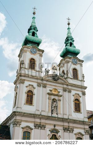 Street view and facade of the Saint Anne church in Budapest the capital city of Hungary