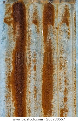 Rusted Iron On Zinc Roof Texture Background