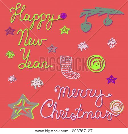 2017 Happy New Year and Merry Christmas. Hand drawn words xmas sock tree branch xmas balls snowflakes. Vector set or greeting card.