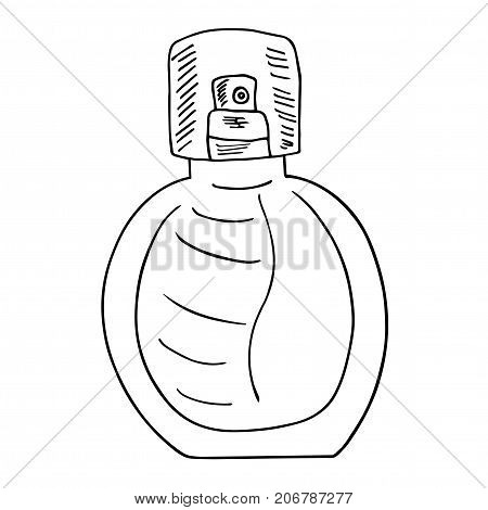 Fragrance bottle with transparent tap. Hand drawn sketch with strokes. Artistic grunge illustration