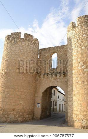 Medieval gate in the village of Belmonte province of Cuenca Spain.